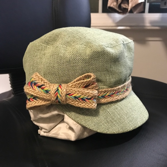 Green Newsboy Hat with Straw Bow